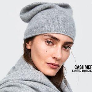 NWT Zara 100% Cashmere Beanie - Light Gray